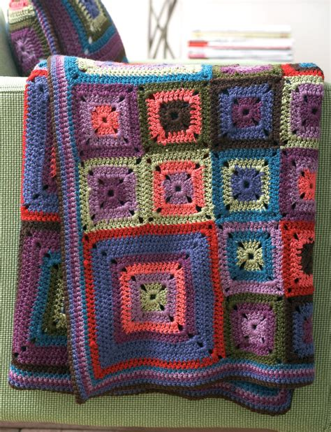 Pillow Blanket Pattern by Patons Bright Squares Blanket And Pillow Crochet Pattern
