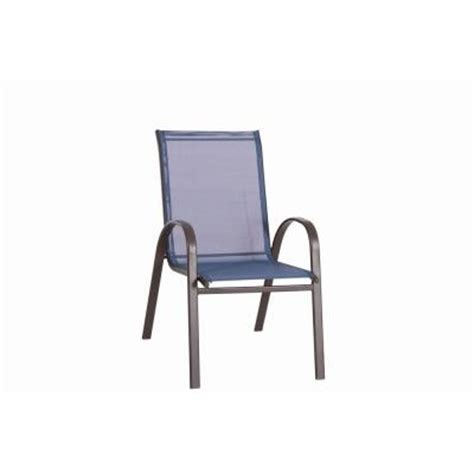 Blue Patio Chairs Navona Blue Sling Patio Chair Fcs00015j Blue The Home Depot