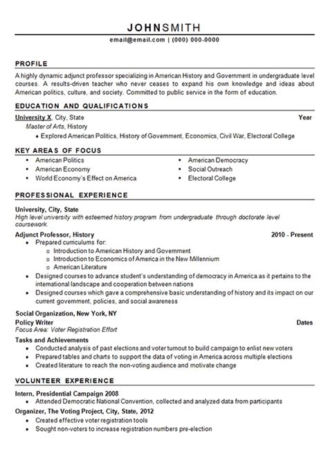 History Professor Resume by Adjunct Professor Resume Sle Best Professional