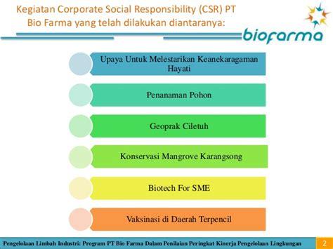 masalah pengelolaan program corporate social review proper pt bio farma