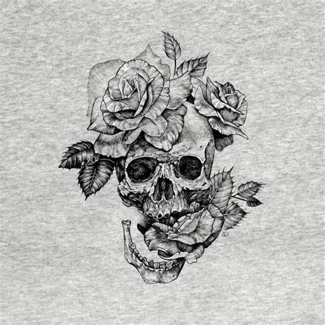 White Ink Drawing black and white ink drawing skull with roses black and