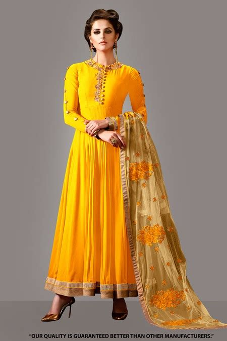 Ethnik Dress ethnic wear yellow georgette anarkali suit 71276a