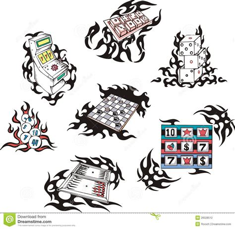 gambling tattoos with flames stock photography image