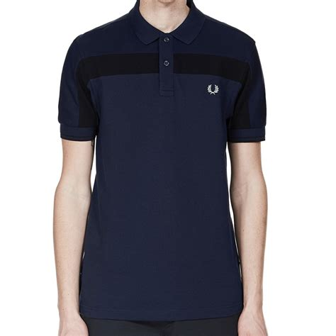 Panel Shirt fred perry textured panel pique shirt in navy jon barrie m2519