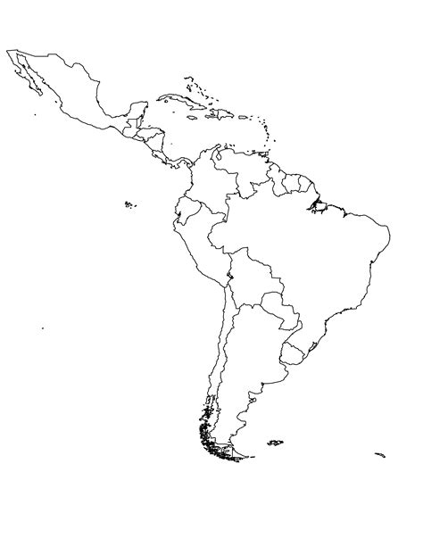 south america map outline blank blank map central and south america