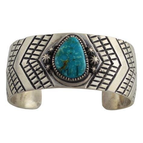 New Jas Ibex Tribal Silver lester sterling silver turquoise bracelet navajo american jewelry ebay