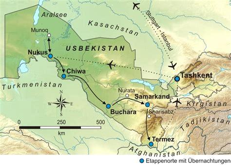 usbekistan regionen karte usbekistan tashkent aralsee chiwa w 252 ste kizilkum