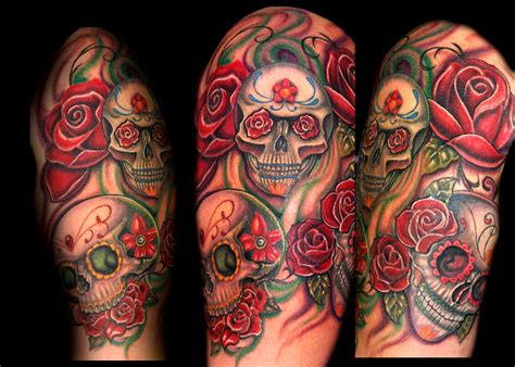 half skull half rose tattoo half sleeve sugar skull n roses on arm