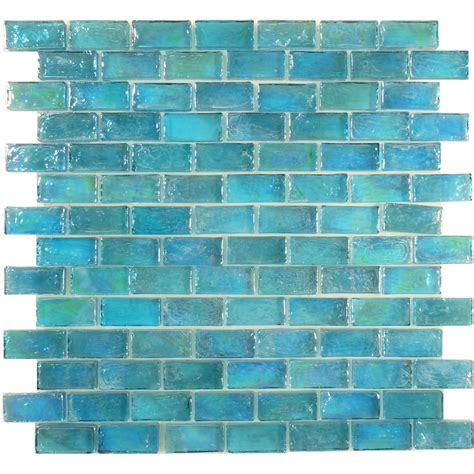 glass tiles aqua blue brick uniform iridescent glass tile glossy pool