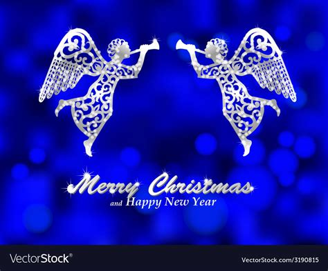 merry christmas blue background  silver angel vector image