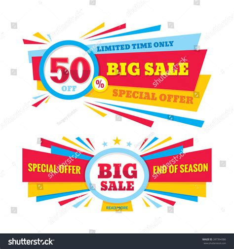 Sharma Designs 50 Sale by Big Sale Vector Banner Discount 50 Stock Vector 397394386