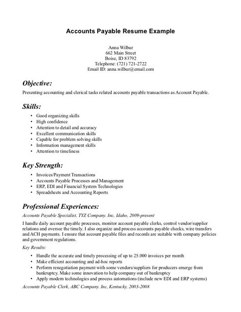 Resume Sle For Accounts Payable Accounts Payable Resume Sle 43 Images Accounts Payable Resume Templates Accounting Resume