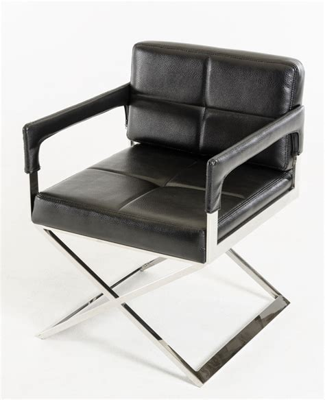 Exposition Design Black Leather Chair Los Angeles California Ahf04 Stainless Steel Frame Black Bonded Leather Chair Los Angeles California Vig Kubrick