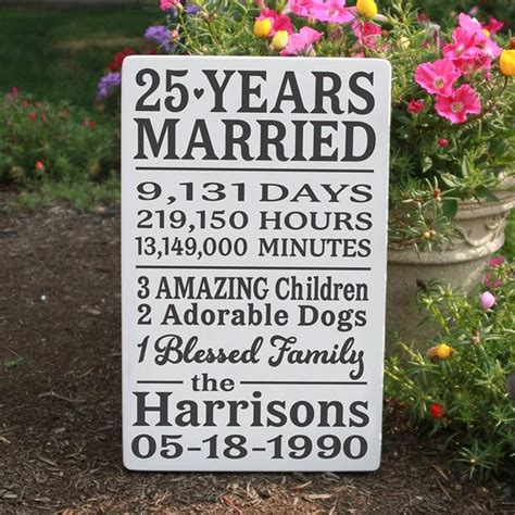 personalized anniversary wood sign 25 year anniversary wood