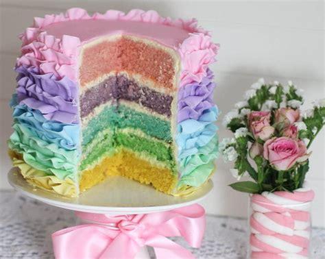 Frill Top Pastel pastel rainbow ruffle cake