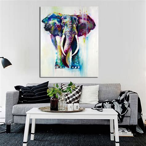 hand painted home decor hand painted color animals oil painting hang paintings modern elephant picture for home decor