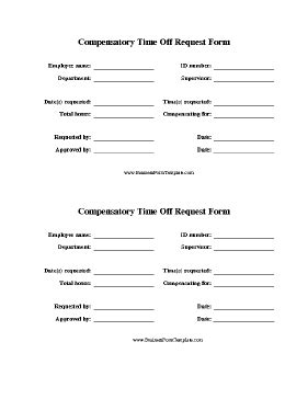free printable time off sheets comp time request form template