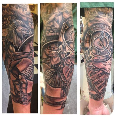 tattoo gladiator designs s black and gray gladiator half sleeve tattoos