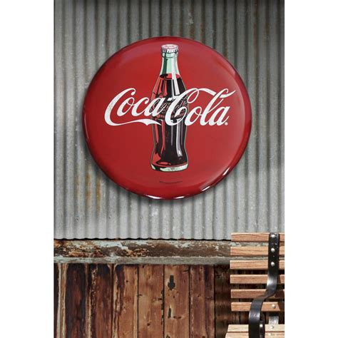 680 best vintage outdoor wall advertising art images coca cola 24 in x 24 in coca cola hollow curved tin button sign 40041 the home depot