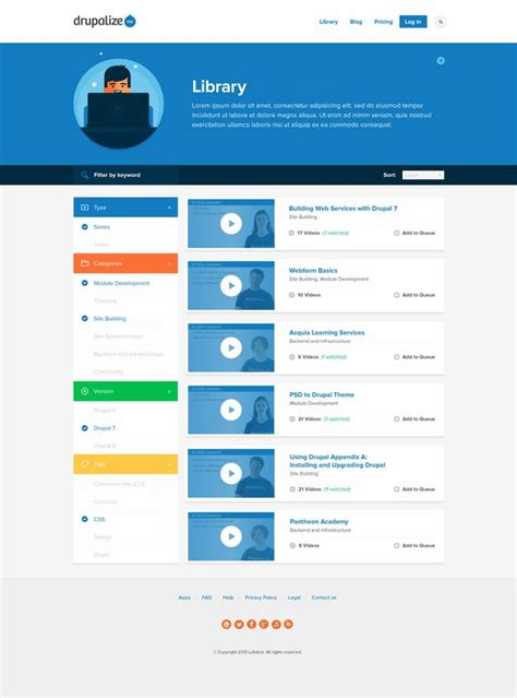 website patterns ux drupalize me library prototype web design inspiration