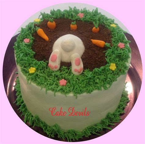 Handmade Cake Decorations - bunny digging bunny cake decorations digging cake