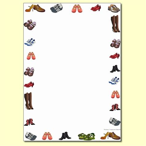 shoe themed page border writing frame no lines primary treasure chest