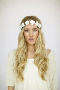 Headband With Flower - flower crown wedding headband bohemian hair band in ivory