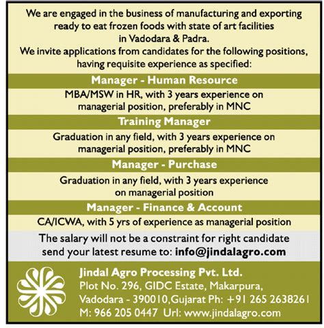 Mba Msw Careers by In Jindal Agro Processing Pvt Ltd Vacancies In
