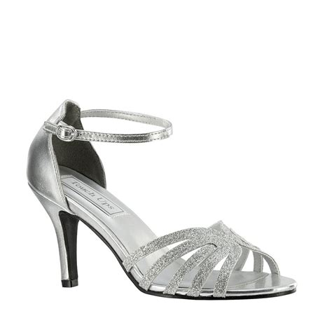 2 sandal heels silver glitter 2 5 8 quot high heel s prom bridal