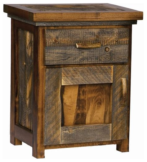 Rustic Wood Nightstand by Rustic Wood Nightstand W Door Contoured Aspen