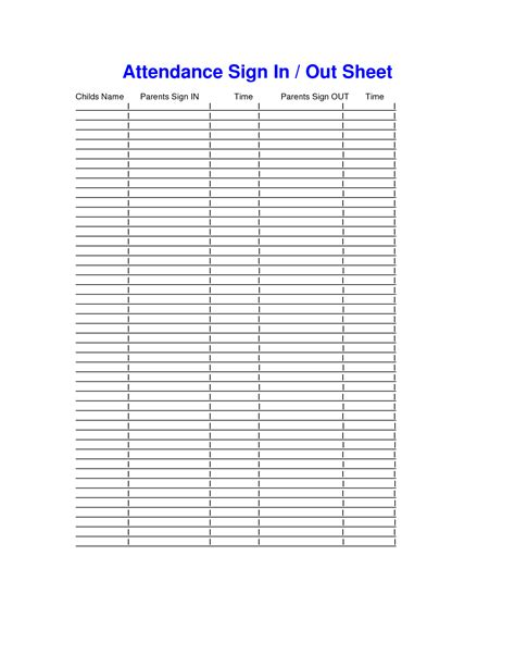 sign out sheet template 8 best images of sign out sheet template printable free