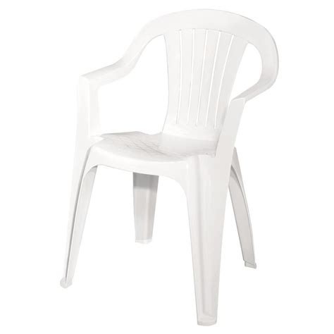 White Plastic Patio Chairs Shop Mfg Corp White Slat Seat Resin Stackable Patio Dining Chair At Lowes