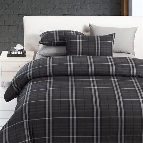 manly bed sets modern boys leisure black and grey plaid bedding sets