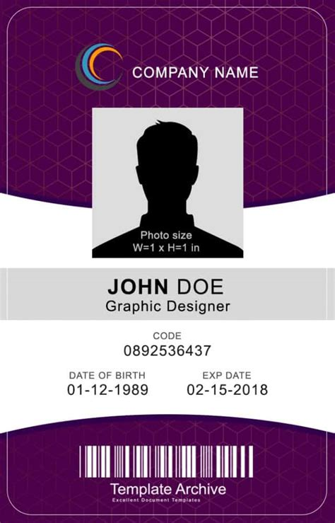 vertical id card template psd 16 id badge id card templates free template archive