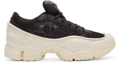 raf simons black and white adidas originals edition ozweego sneakers in black lyst