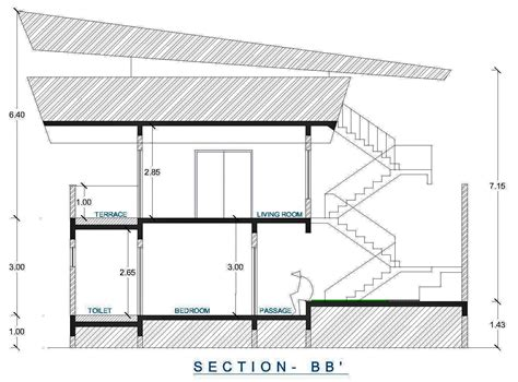 ground floor section architectural portfolio institutional cum residential