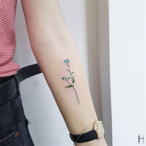 small forget me not tattoo forget me not on the inner forearm artist