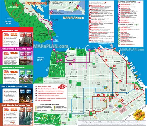 san francisco map attractions pdf san francisco map city sightseeing hop on hop