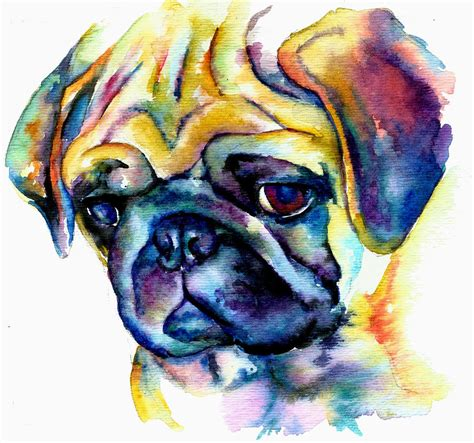 blue pugs blue pug painting by freeman