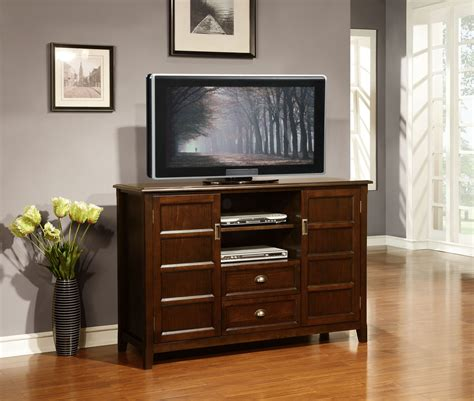 tall tv stand for bedroom dark brown stained tv stand with two shelves and drawers
