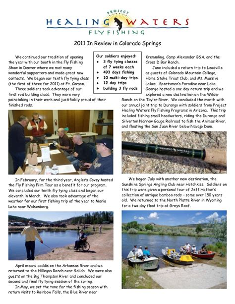 colorado fly fishing newsletter apr project healing waters fly fishing newsletter 2011