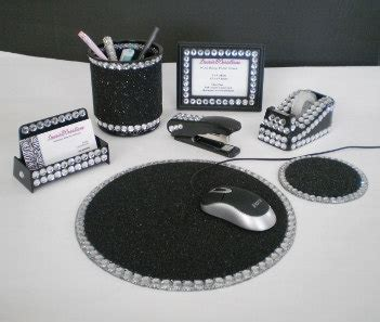 Bling Desk Accessories Ultimate Black Bling Computer Desk Set By Lauriebcreations