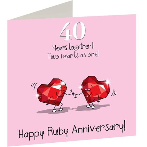Ruby Wedding Anniversary Card And by 40th Wedding Ruby Anniversary Card