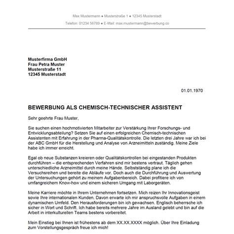 Anschreiben Bewerbung Ausbildung Eisenbahner Bewerbung Als Chemisch Technischer Assistent Chemisch Technische Assistentin Bewerbung Co