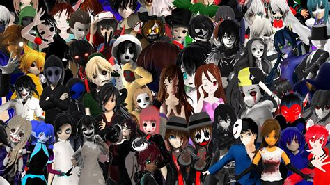 all creepypastas all mmd creepypaspa models in one credits in the