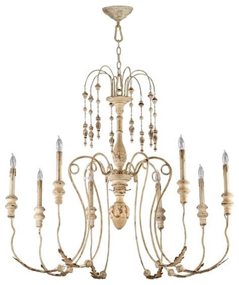 Distressed Chandeliers Distressed White Vintage 8 Light Chandelier Transitional Chandeliers By Pizzazz
