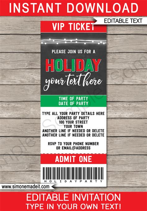 christmas party ticket template printable ticket invitations printable invites