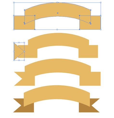 gilded   gold ribbon banner vector tutorial