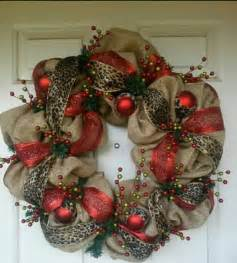 christmas wreath with red leopard burlap rose englert