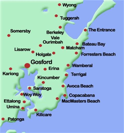map of central coast areas we service caprice plumbing services wamberal